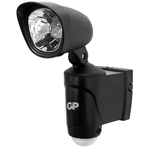 GP Safeguard RF3 - drahtlose, batteriebetriebene Sicherheits-Lampe mit Bewegungsmelder und hellem LED-Strahler, wetterfest nach IP44, schwarz (inkl. Batterien und Installationsmaterial)