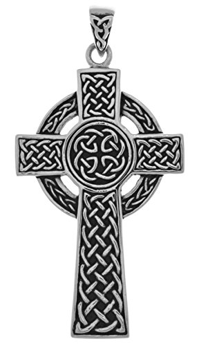 Jewelry Trends Large Celtic Circle of Life Cross Sterling Silver Pendant