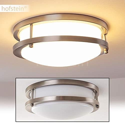 LED Deckenleuchte Sora, runde Deckenlampe aus Metall in Nickel-matt, 2-stöckig, 12 Watt, 900 Lumen, Lichtfarbe 3000 Kelvin (warmweiß), IP 44, auch für das Badezimmer geeignet