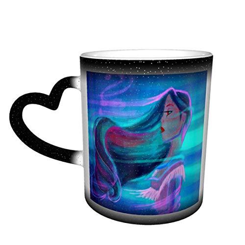 N\A Pocahonta-s Taza de café Que Cambia de Color Taza Sensible al Calor Que Cambia en el Cielo Taza de té de cerámica Que Cambia de Color, 12 onzas Negro