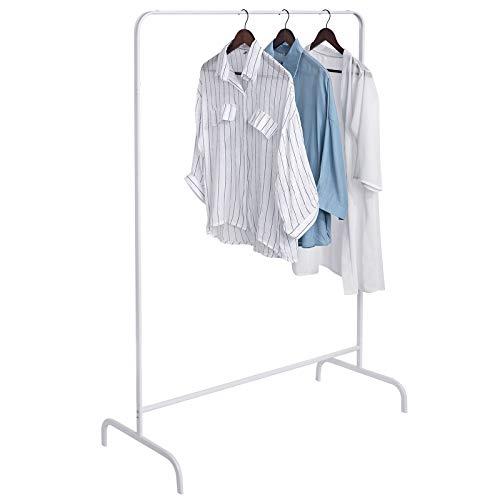 EUGAD Kleiderständer Garderobenständer Wäscheständer, Garderoben Kleider Ständer, Teleskop Regal, Kleiderstange, 99x46x152cm, Weiss