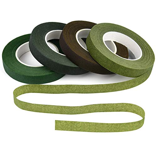"KUUQA 4 Rolls 1/2"" Wide Floral Tapes for Bouquet Stem"