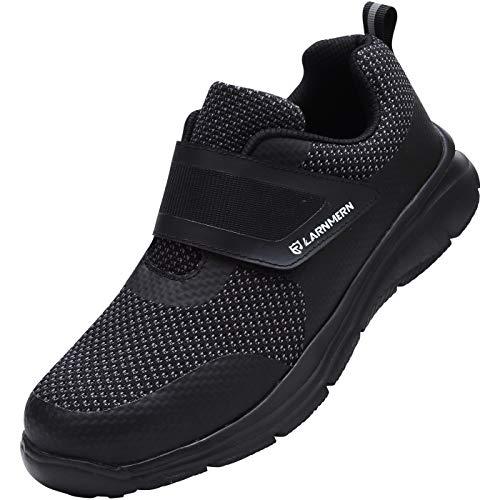 [LARNMERN] 安全靴 メンズ レディース 超軽量 滑り止め 通気性 クッション 作業靴 セフティシューズ メッシュ スニーカー つま先保護 ワークシューズ 防刺 衝撃吸収 耐久性(黒、40)