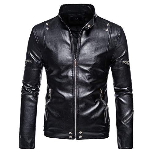 Mr.BaoLong&Miss.GO Autumn New Men Leather Jacket Men Large Size Leather Jacket Men Stand-up Collar Leather Jacket Pu Fashion Zipper Leather Jacket Jacket Black