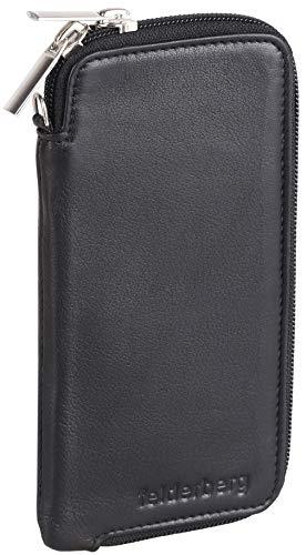 felderberg Handytasche aus feinstem Echt-Leder mit Reißverschluss & Handschlaufe, für bis 6,3 Zoll Smartphones geeignet (Schwarz)