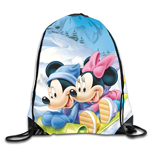 Mickey Mouse Minnie Mouse Casual Beam Mouth Backpack Drawstring Daypack Schoolbag For Kids Adults Travel And Leisure Sports Backpack Lightweight Gym Yoga Sackpack