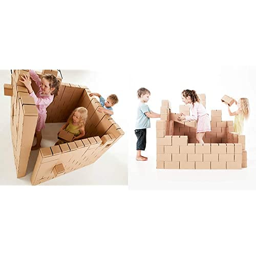 Gigi Bloks Bloques Gigantes De Cartón | Juegos Niños 200 Piezas XXL | Kits De Ladrillos+ Bloques De Construcción Gigantes De Cartón, Juegos De Construcción para Niños