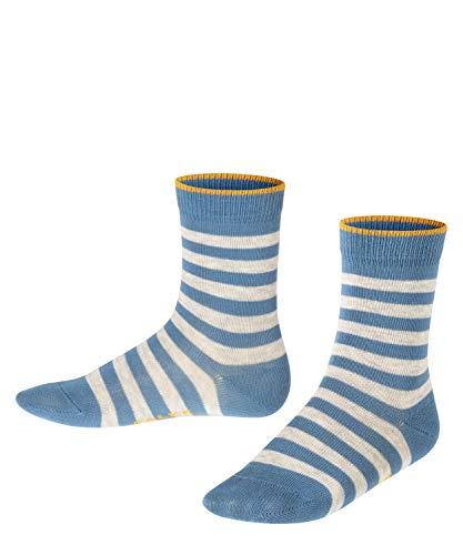 FALKE Unisex Kinder Double Stripe SO Socken, blau (denim 6062), 23-26