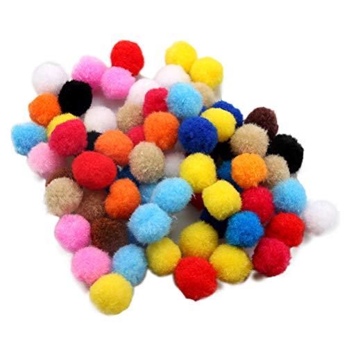 Yissma 100 Piezas Tamaño de la Mezcla Color de la Mezcla Manualidades de Bricolaje Colorido Mini Pompones esponjosos Bolas Decoración del hogar de la Boda