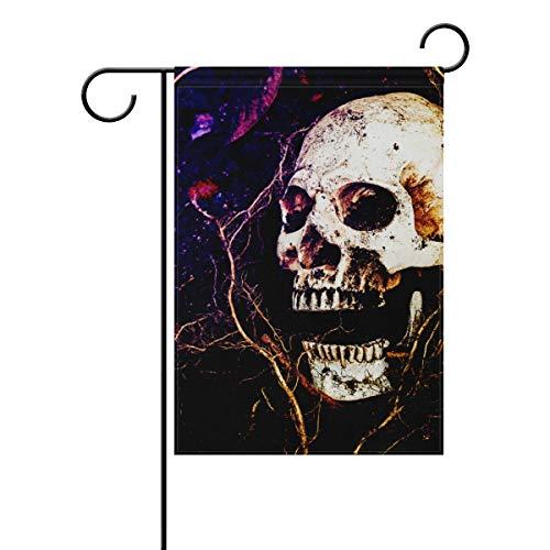 Polyester Garden Drapeau foncé Style Gothique Evil Rose Tête de Mort Halloween Bannière 30,5 x 45,7 cm pour extérieur Home Garden Pot de Fleurs Décor fête Maison Drapeau 28x40(in) Multicolore