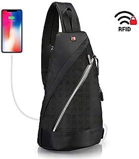 "Sling Bag for iPad 10.2"" - Crossbody Backpack Anti Theft Black - Swiss Design RFID Blocking Waterproof Backpack - Crossbody Bag Lightweight Men Women - Business Travel Daypack USB Port"
