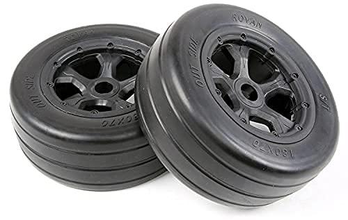 LUOERPI 2 Piezas para Rovan RC Car Repuestos 1/5 LT Camión Neumáticos Piezas Slick Juego de neumáticos También Apto para Baja 4WD / SLT 970492 Repuestos (Color: Amarillo) ( Color : Black )