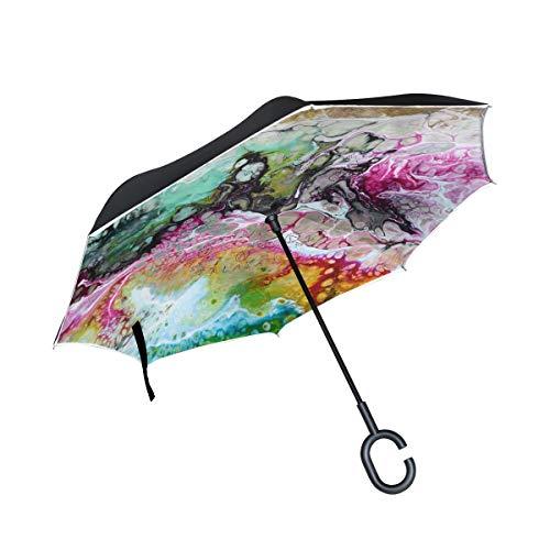 Paraguas invertido de pintura abstracta colorida de doble capa, resistente al viento...
