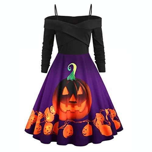 Dames Halloween Koude Schouder Tuniek Top Swing Jurk, Dames Lange Mouw Pompoen Print Plus Size Avondfeest Jurk