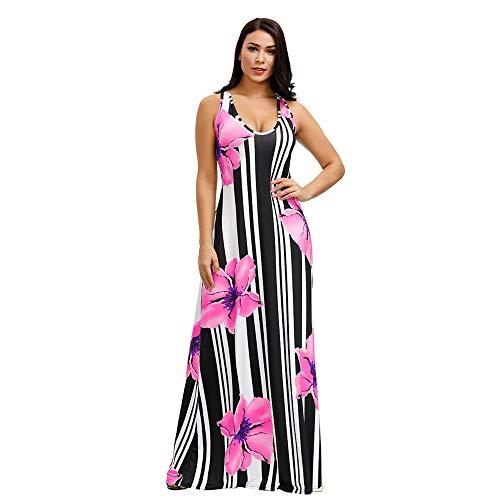 Women's Sleeveless Striped Floral Printed Summer Beach Dress Tank Maxi Long Dresses Plus Size Pink 3X-Large