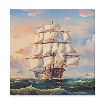 Pirate Ship At Sea Canvas Prints Wall Art Picture Large Any Size