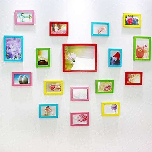H.yina Creative Liebesform Bilderrahmen Set Verschiedene Größen 17 Bilder Modern Einfach Fotorahmenwand Brautkleid Bilderrahmen Collage Schlafzimmer Wohnzimmer Fotorahmen Wanddeko