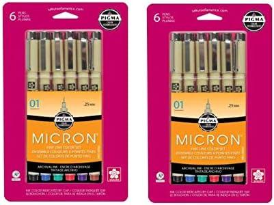 Sakura Pigma 30063 Micron Blister Card Ink Pen Set, Ass't Colors, 01 6CT Set