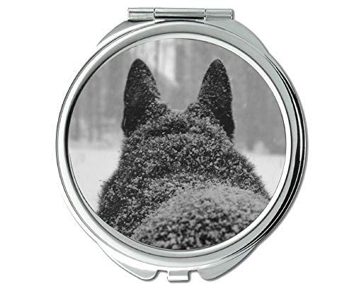 Yanteng Spiegel, Reisespiegel, Taschenspiegel mit Tierwolf, 1 X 2X Vergrößerung