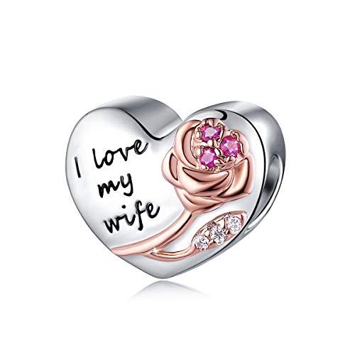FOREVER QUEEN Damen Herz Ehefrau Charms für Charms Armband Herz Bead Charms Anhänger für Armband und Halskette Frau…