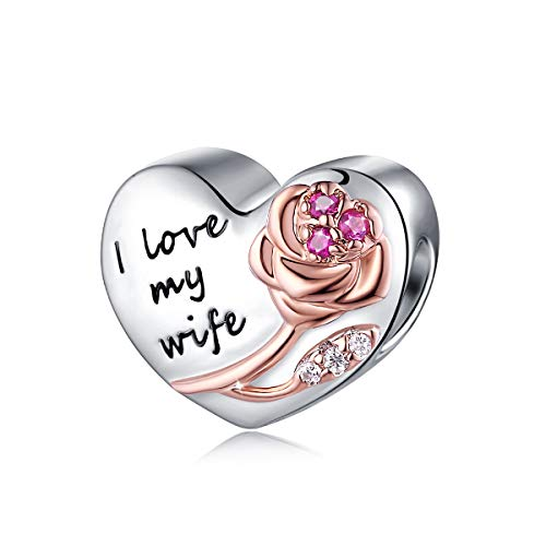 FOREVER QUEEN i love my wife Charms fit Charms Bracelet 925 Sterling Silver Heart Charm Bead for Bracelet Women's Gift With Jewellery Box