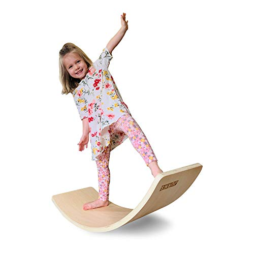 Wooden Wobble Balance Board for Kids - Montessori Early Learning Curvy Board for Toddlers - Curved Natural Wood Rocker Educational Toy for Kids and Adults