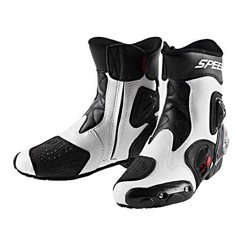 MRDEAR Botas de Motocross Impermeables Botas Protectoras para Motociclismo Hombre Botas de Moto de Cuero con Ventilación Ajustable, Blanco & negro (42 EU)