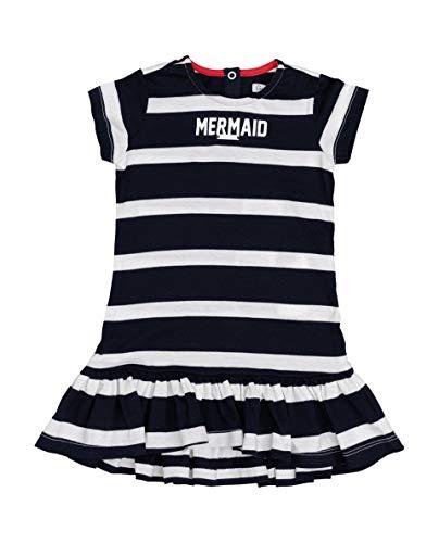 GULLIVER Baby Mädchen Kleid Kinder Blau Gestreift Marine Kurzarm Loose Bio Baumwolle 9-24 Monate