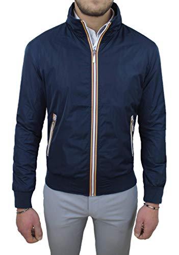 Evoga Giubbotto giacca uomo casual primavera estate giubbino moto slim fit (Blu Scuro, x_l)