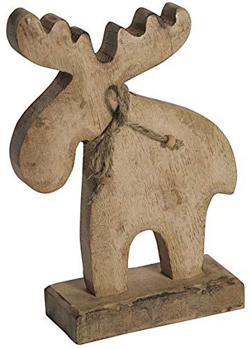 CHICCIE Hirsch Figur Aus Mango Holz Stehend 26 cm - Hirschfigur Dekohirsch Dekofigur Rentierfigur Holzfigur Mangoholz