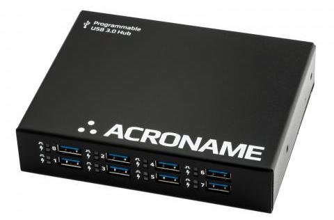 Programmable Industrial USB 3.0 hub, 9 Port, 2 Host, 15kV ESD, Software Control, Fast Charge (4A), Measure Current, Over-Current Protection, DIN Rail mountable