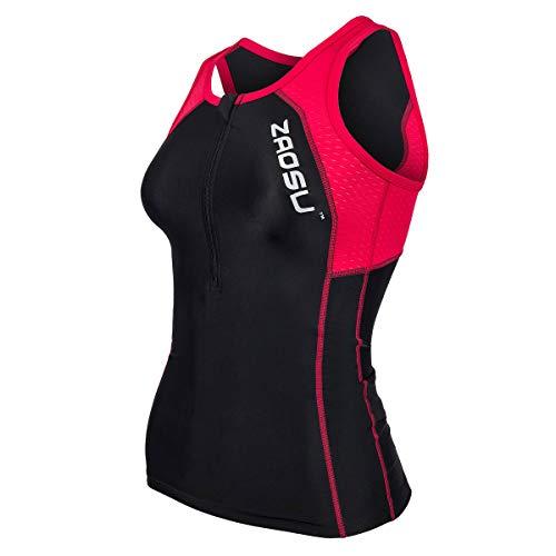 ZAOSU Damen Triathlon Oberteil Z-Revolution | Tri Top Zweiteiler ohne Ärmel, Größe:L, Farbe:schwarz/rot