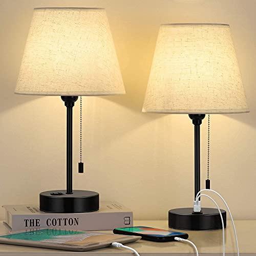 Juego de 2 lámparas de mesa USB pequeñas para mesita de noche con 2 puertos USB, tela blanca, cadena de tirón, mesita de noche,...