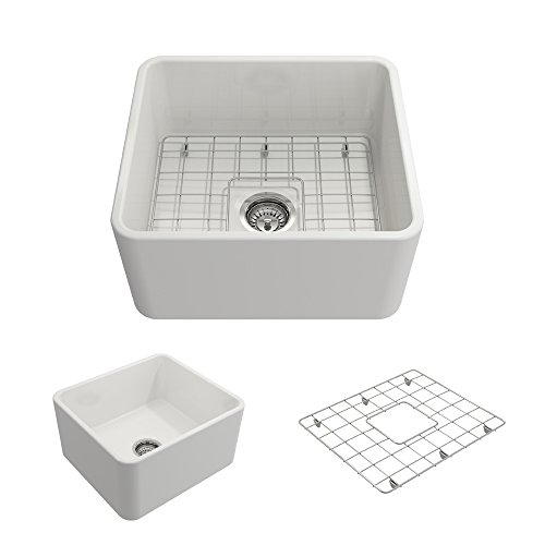 BOCCHI 1136-001-0120 Classico Apron Front Fireclay 20 in. Single Bowl Kitchen Sink with Protective...