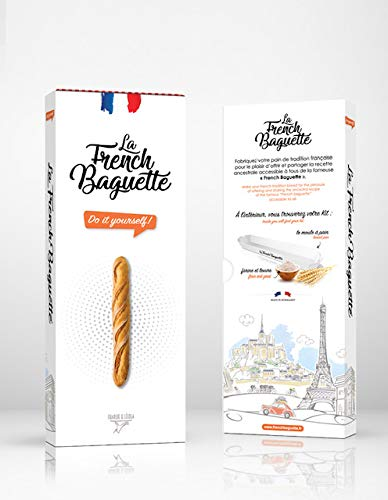 La French Baguette - DIY Homemade French Baguette Kit, 200g | Authentic, Easy, Do-It-Yourself at Home in 40 Minutes | Bread Baking Set Includes Ingredients, Recipe & Shaping Mold | 100% Made in France