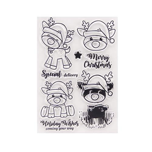 bestoyard tarjeta de Navidad Animales sellos de silicona Clear Stamps sellos transparente para fabricación álbum de fotos Scrapbooking DIY Tarjeta libro pared ventana decorativa