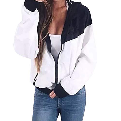 Damen Übergangsjacke Ladies Basic Kapuze Jacken Mantel Leicht Sport Jacken Sweatjacke Zip Hoodie, leichte Streetwear Schlupfjacke, Windbreaker Überziehjacke für Frühjahr und Herbst