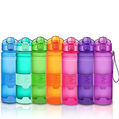 ZOUNICH Trinkflasche Sport BPA frei Kunststoff Sporttrinkflaschen für Kinder Schule, Joggen, Fahrrad, öffnen mit Einer Hand Trinkflaschen Filter, Lila, 32oz/1000ml