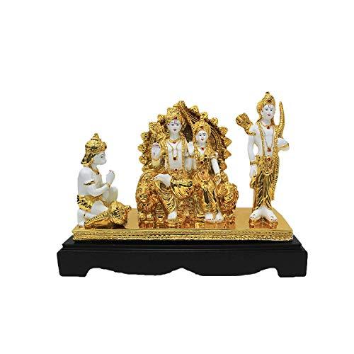 Marble Lord Ram Darbar Idol God Rama, Laxman, Sita and Hanuman Statue Spiritual Puja Vastu Showpiece (White and Gold)