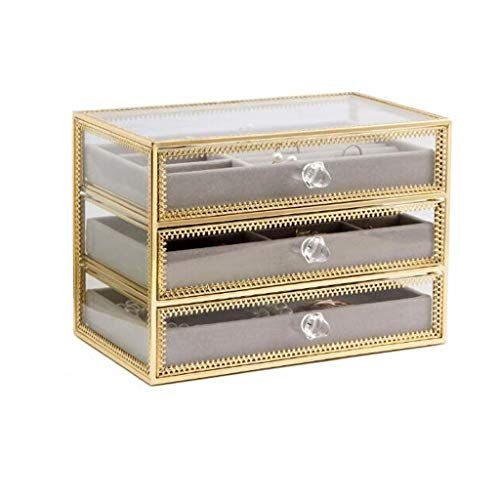 LICHUAN Jewelry Box Clear Glass Jewelry Boxes 3 Layer Drawer with Velvet Tray Organizer Box Finishing Rack Great in Bedroom Dresser Jewelry Organizer