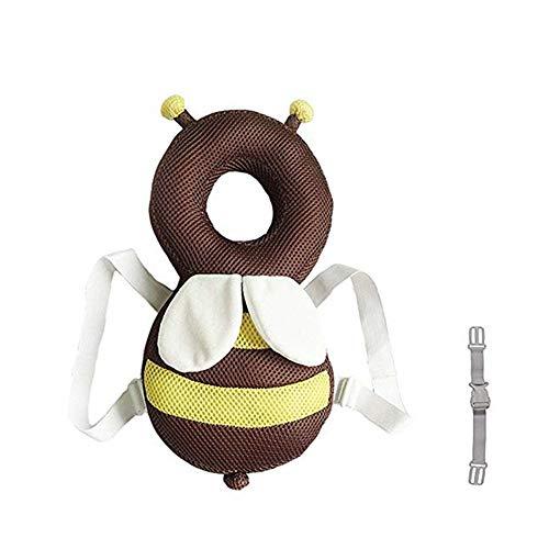 Kopfschutz für Kinder, verstellbar, Baby-Sicherheitspolster, Baby-Läuferschutz, niedlicher kleiner Bienenbär (braun atmungsaktiv)