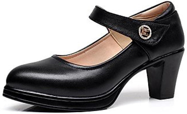 LvYuan-GGX Damen High Heels Formale Schuhe PU Frühling Herbst Hochzeit Normal Party & Festivität Formale Schuhe Strass Schnalle BlockabsatzWeiß, Weiß, us6.5-7   eu37   uk4.5-5   cn37  | Sale Outlet  | Erschwinglich