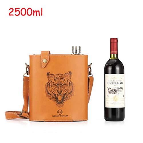 Heupflessen Voor Mannen Animal Pattern Design heupfles roestvrij staal Outdoor 500g / 2500g Verdikte Flat wijnfles voor whisky en shochu (Color : Tiger, Size : 2500ml)