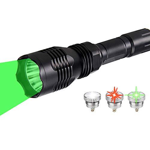 BESTSUN Jagd Taschenlampe mit austauschbarer rot/grün/weißer LED, Rotlicht Jagdtaschenlampe 350 Yards Predator Taschenlampen mit Druckschalter Akku und Ladegerät
