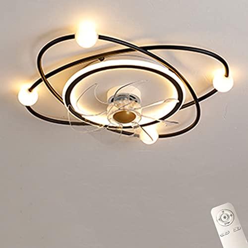 Deckenventilator Mit Beleuchtung, 40W LED Deckenleuchte, Ultra-Leise Deckenventilator Beleuchtung Fernbedienung Dimmbar, Für Wohnzimmer, Schlafzimmer Kinderzimmer Esszimmer,Black ø53cm