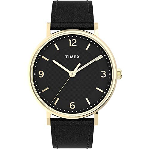 Timex Southview - Reloj para hombre (41 mm, esfera dorada, esfera negra con correa de piel negra)