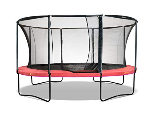 North Trampoline Pioneer 2020   Outdoor garden trampoline   Round or oval   Internal safety net with tunnel entrance   Soft suspension, ideal for children   TÜV/GS approved (Round 430 cm, Coral)