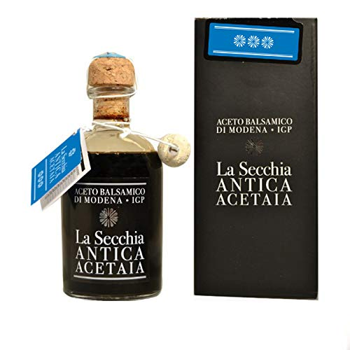 La Secchia - Vinagre Balsámico de Módena I.G.P. Tres Estrellas Envejecido en 12 Barricas de Cerezo y Morera - Densidad Media - Botella 250 ml con Tapón Dosificador de Corcho.