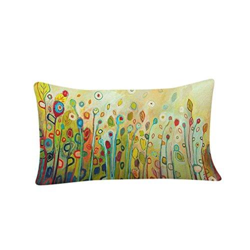 Pillow Case, Cotton Linen Rectangle Flowers Birds Print Decorative Throw Pillow Case Bed Home Decor Cushion Cover (A)