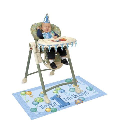 Kit de décoration pour premier anniversaire ballons Chaise haute – Bleu